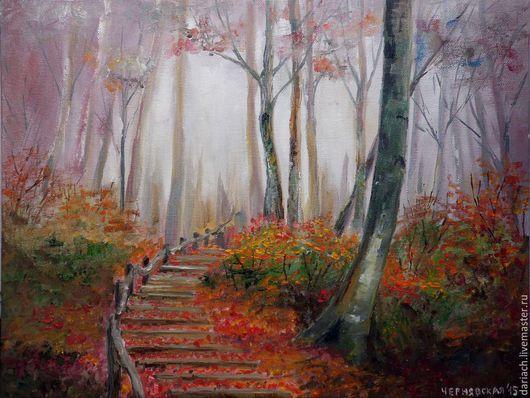 """Пейзаж ручной работы. Ярмарка Мастеров - ручная работа. Купить картина маслом """"туман. лес."""". Handmade. Картина"""