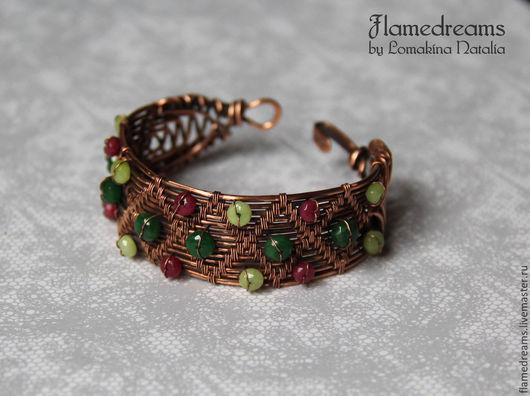 """Браслеты ручной работы. Ярмарка Мастеров - ручная работа. Купить Браслет """"Плетение"""". Handmade. Зеленый, браслет из камней, бохо"""