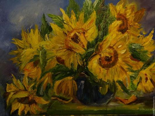 """Картины цветов ручной работы. Ярмарка Мастеров - ручная работа. Купить """"Подсолнухи"""". Handmade. Желтый, картина для интерьера, картина с цветами"""