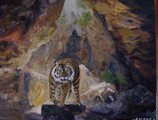 Пейзаж ручной работы. Ярмарка Мастеров - ручная работа. Купить Тигр. Handmade. Коричневый, тигр, пещера, красивый подарок