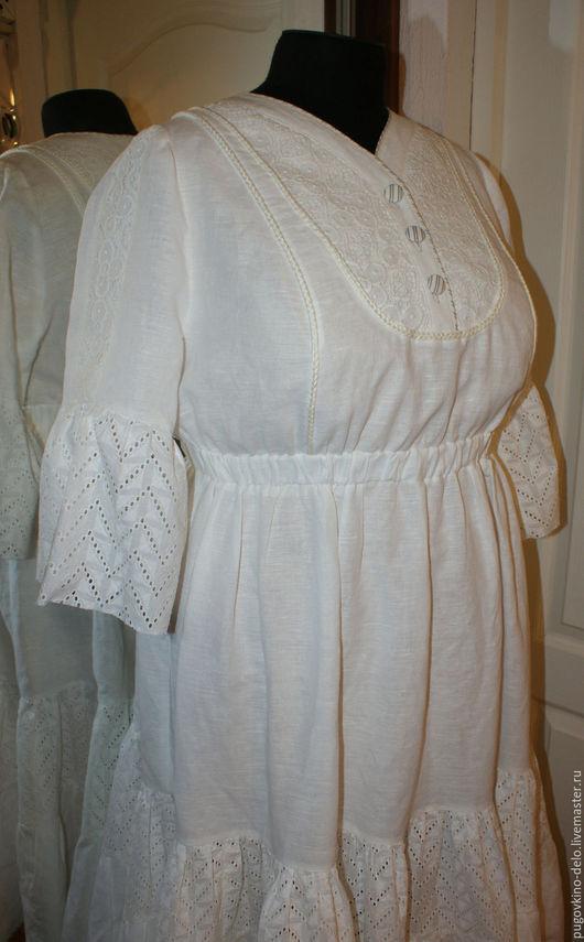 Платья ручной работы. Ярмарка Мастеров - ручная работа. Купить Нижнее льняное платье с шитьём. Handmade. Молочный цвет