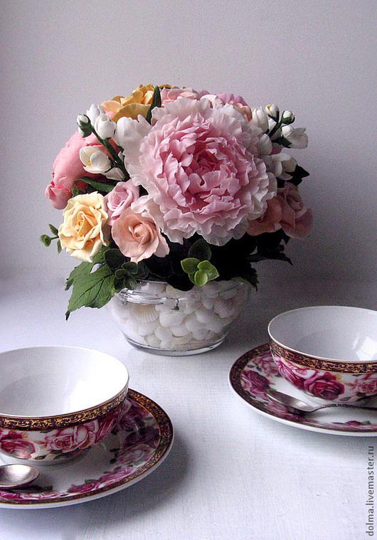 Интерьерный букет,букет с розовыми пионами, букет с белыми розами,букет с жасмином,букет подарок,букет цветов,букет из полимерной глины, цветы пионов, интерьерная композиция,букет роз