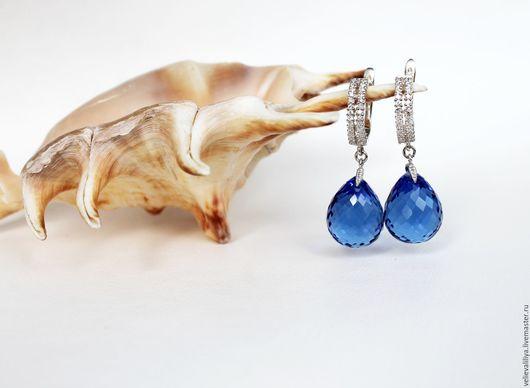 """Серьги ручной работы. Ярмарка Мастеров - ручная работа. Купить серьги """"Капельки моря"""". Handmade. Кварц, сине-голубой кварц"""