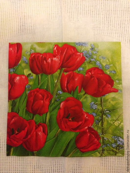 Красные тюльпаны и незабудки - 90 Декупажная радость