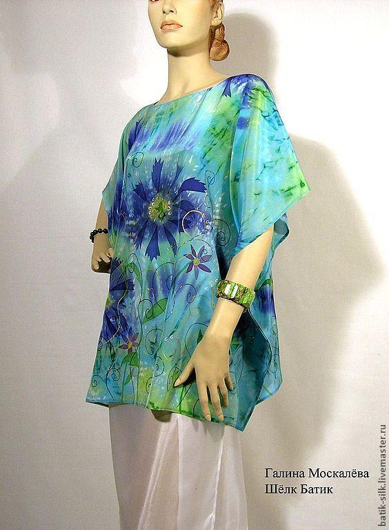 Купить синюю блузку из шелка