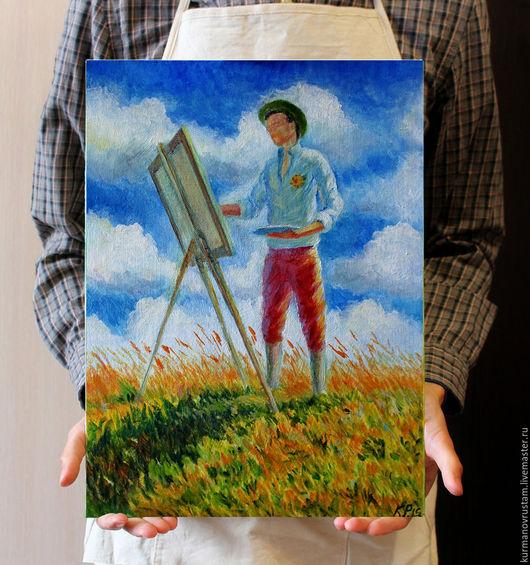 """Люди, ручной работы. Ярмарка Мастеров - ручная работа. Купить """"Юноша на пленэре"""". Handmade. Синий, юноша, пейзаж, лето, ветер"""