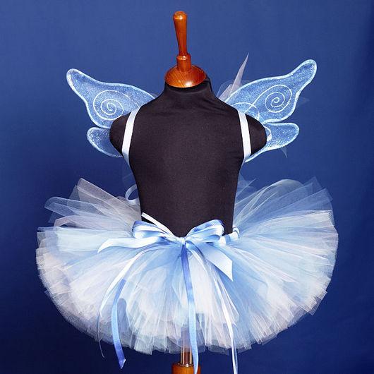 """Детские карнавальные костюмы ручной работы. Ярмарка Мастеров - ручная работа. Купить """"Голубой мотылек"""" карнавальный костюм юбка-пачка и крылья. Handmade."""