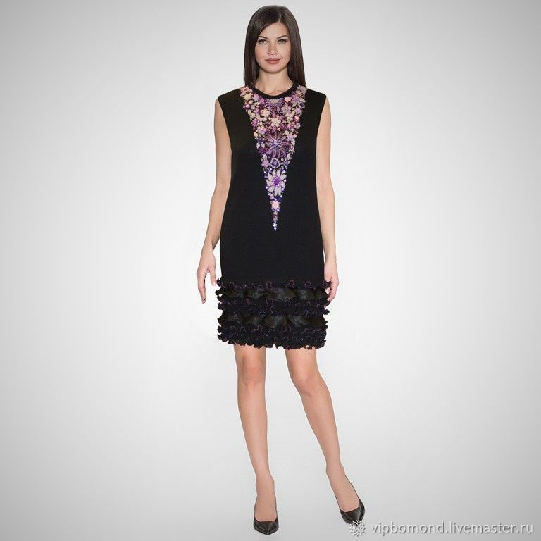 Dress designer of knitted Jersey with unique embroidery, Dresses, Chelyabinsk,  Фото №1