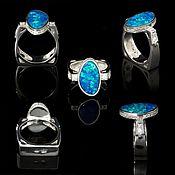 Украшения handmade. Livemaster - original item Stylish ring with Australian opal and zircons.. Handmade.