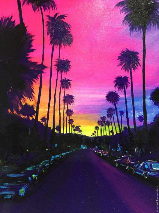 Пейзаж ручной работы. Ярмарка Мастеров - ручная работа. Купить Калифорния. Пальмы. Handmade. Калифорния, автомобили, закат, розовый