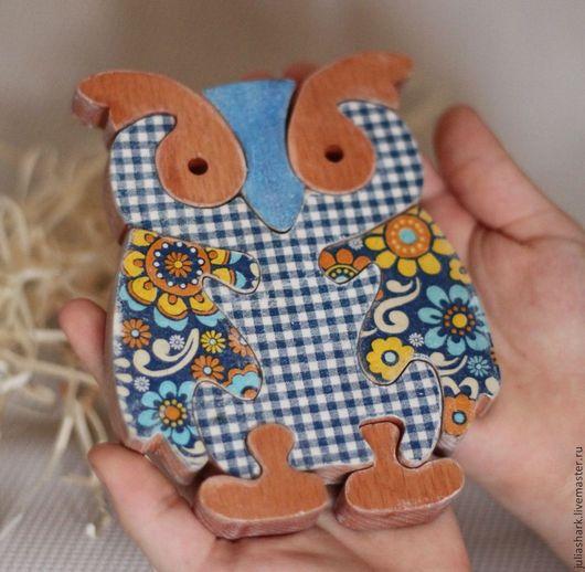 Деревянная игрушка - паззл `Совенок`. Мастерская добрых вещей Юлии Shark `Солнце за пазухой`. Подарки на 8 марта. Статуэтка сова. Деревянные игрушки.  Пазлы из дерева.