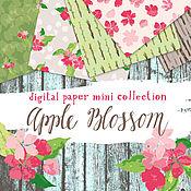 Материалы для творчества ручной работы. Ярмарка Мастеров - ручная работа Мини-коллекция цифровой скрапбумаги Apple Blossom. Handmade.