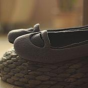 """Обувь ручной работы. Ярмарка Мастеров - ручная работа """"Графит"""" туфельки балетки валяные. Handmade."""
