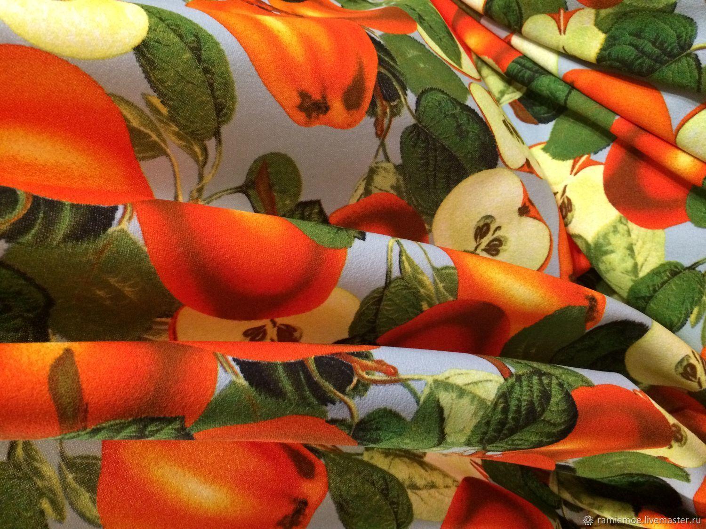 Dolce & Gabbana Трикотаж креповый плотный Яблочки оранжевые – купить в интернет-магазине на Ярмарке Мастеров с доставкой
