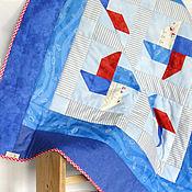 Для дома и интерьера ручной работы. Ярмарка Мастеров - ручная работа Лоскутное одеяло покрывало Море Детский стеганый плед Подарок женщине. Handmade.