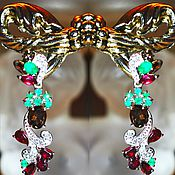 Украшения handmade. Livemaster - original item Esmeralda earrings, Aventurine, Rhodolite garnet Topaz Silver gilt. Handmade.
