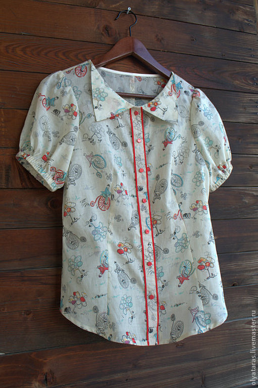 """Блузки ручной работы. Ярмарка Мастеров - ручная работа. Купить Блуза """" Прогулка"""".. Handmade. Рисунок, хлопковая блузка, хлопок"""