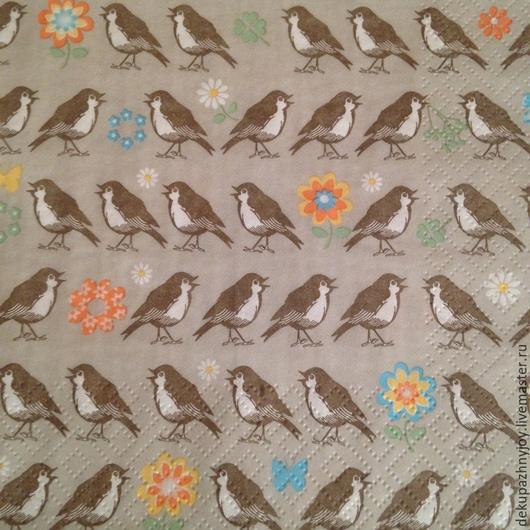 Воробушки - много воробушков -салфетка  Салфетка для декупажа, фоновая салфетка Декупажная радость