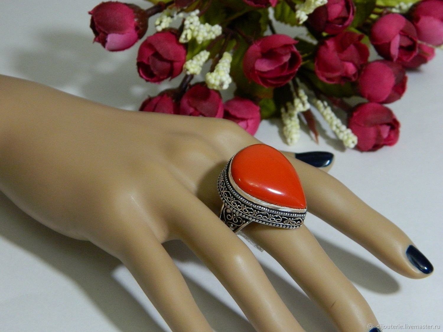Ring, coral silver jewelry, Rings, Saratov,  Фото №1