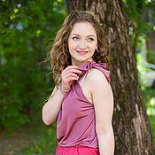 Одежда ручной работы. Ярмарка Мастеров - ручная работа Юбка-миди из хлопка - Розовый. Handmade.