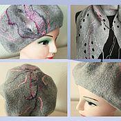 Аксессуары handmade. Livemaster - original item Felted set of accessories ( scarf, beret) grey.. Handmade.