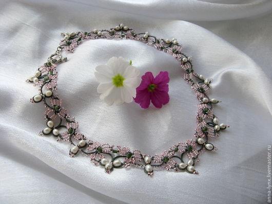 """Колье, бусы ручной работы. Ярмарка Мастеров - ручная работа. Купить Ожерелье """"Дыхание весны"""". Handmade. Колье с жемчугом"""