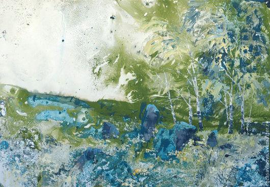 Пейзаж ручной работы. Ярмарка Мастеров - ручная работа. Купить Июль. Handmade. Июль, небо, графика, деревья, картина в подарок