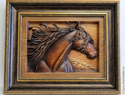 """Животные ручной работы. Ярмарка Мастеров - ручная работа. Купить """"Рамзес"""". Handmade. Картины и панно, резьба по дереву, подарок, лошадь"""