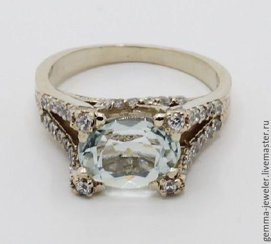 Кольца ручной работы. Ярмарка Мастеров - ручная работа. Купить Женское золотое кольцо с аквамарином Брызги моря. Handmade. Голубой