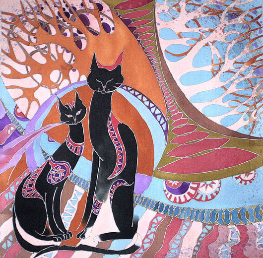 Животные ручной работы. Ярмарка Мастеров - ручная работа. Купить Платок Африканские кошки. Handmade. Панно на шёлке, авторская карина