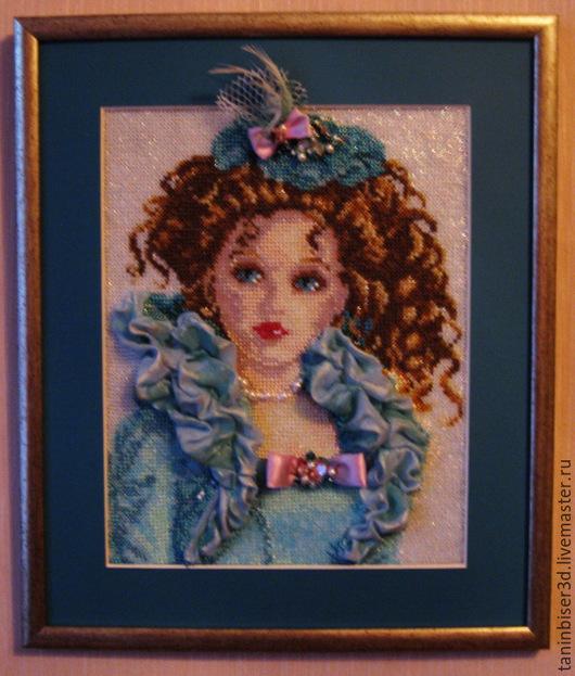 """Люди, ручной работы. Ярмарка Мастеров - ручная работа. Купить """"Любимая кукла"""". Handmade. Морская волна, Вышитая картина, кукла"""