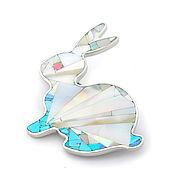 Украшения handmade. Livemaster - original item Brooch Bunny. Mother Of Pearl, Turquoise, Rhodonite. Natural stones.. Handmade.