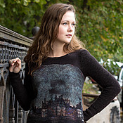 handmade. Livemaster - original item Felted sweater Old castle. Handmade.