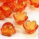 Бусины акриловые прозрачные форма Колокольчик для использования в сборке украшений в качестве бусин или подвесок Цвет бусин оранжевый