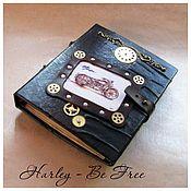 """Скетчбуки ручной работы. Ярмарка Мастеров - ручная работа Кожаный ежедневник  """"Harley Davidson - Be Free"""" скетчбук. Handmade."""