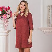 Одежда ручной работы. Ярмарка Мастеров - ручная работа Платье льняное Красный меланж. Handmade.