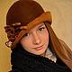 """Шляпы ручной работы. Ярмарка Мастеров - ручная работа. Купить Шляпка-клош """"Кофе с корицей """". Handmade. Шляпка-клош"""