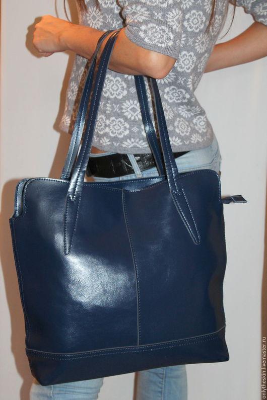Женские сумки ручной работы. Ярмарка Мастеров - ручная работа. Купить Натуральная кожа. Женская сумка синего цвета арт 27. Handmade.
