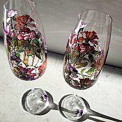 Свадебный салон handmade. Livemaster - original item Pair of champagne glasses. glasses wedding.. Handmade.