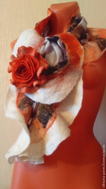 """Комплекты аксессуаров ручной работы. Ярмарка Мастеров - ручная работа. Купить Комплект шарф и брошь """"Рыжик"""". Handmade. Рыжий"""