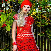 Одежда handmade. Livemaster - original item tunic: Author`s lace tunic red. Handmade.