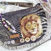 Сумки и аксессуары ручной работы. Ярмарка Мастеров - ручная работа Хищник-King )) сумка лев зебра джинса фиолетовый сирень бохо купить. Handmade.