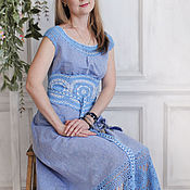 "Одежда handmade. Livemaster - original item Linen sundress with lace ""Above the clouds"". Handmade."