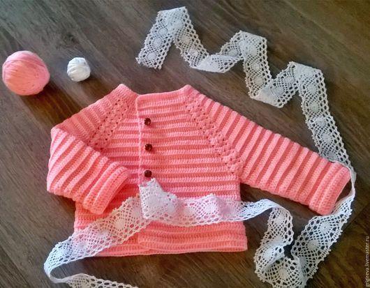 Одежда для девочек, ручной работы. Ярмарка Мастеров - ручная работа. Купить джемпер для девочки. Handmade. Розовый, на пуговицах, для малышей, нежный