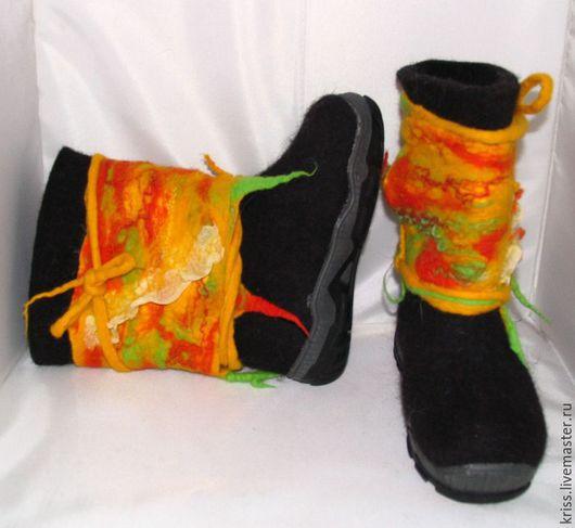 Обувь ручной работы. Ярмарка Мастеров - ручная работа. Купить Валенки детские для мальчика и девочки. Handmade. Черный, валенки на подошве