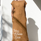 Одежда ручной работы. Ярмарка Мастеров - ручная работа Коричневое вязаное длинное зимнее весеннее осеннее платье джемпер. Handmade.