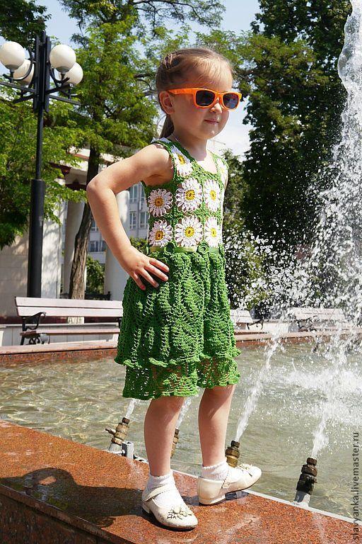 """Одежда для девочек, ручной работы. Ярмарка Мастеров - ручная работа. Купить Сарафан """"Ромашковое поле"""". Handmade. Зеленый, вязаное платье"""