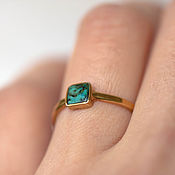 Украшения handmade. Livemaster - original item Thin gold ring with natural green turquoise. Handmade.