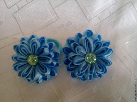 Детская бижутерия ручной работы. Ярмарка Мастеров - ручная работа. Купить резиночки для волос с цветком. Handmade. Голубой, резинка для волос