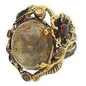 Украшения handmade. Livemaster - original item 925 silver ring with rutile quartz garnet and sapphires. Handmade.
